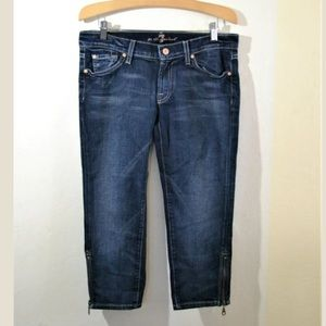 7 For All Mankind Ankle ZIP Capri Jeans Size 29